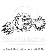 Vector Illustration of a Black and White Vicious Aggressive Bear Mascot Slashing Through a Wall with a Basketball in a Paw by AtStockIllustration
