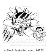Vector Illustration of a Black and White Vicious Dragon Mascot Head Shredding Through a Wall by AtStockIllustration