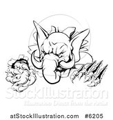 Vector Illustration of a Black and White Vicious Elephant Monster Clawing Through a Wall by AtStockIllustration