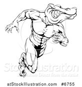 Vector Illustration of a Black and White Vicious Muscular Alligator Man Running Upright by AtStockIllustration
