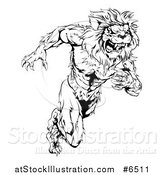 Vector Illustration of a Black and White Vicious Muscular Sprinting Lion Man Mascot by AtStockIllustration