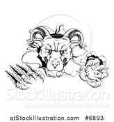 Vector Illustration of a Black and White Vicious Ram Monster Clawing Through a Wall by AtStockIllustration