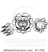 Vector Illustration of a Black and White Vicious Roaring Panther Monster Mascot Shredding Through a Wall with a Basketball by AtStockIllustration