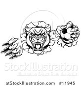 Vector Illustration of a Black and White Vicious Roaring Panther Monster Mascot Shredding Through a Wall with a Soccer Ball by AtStockIllustration