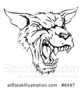 Vector Illustration of a Black and White Vicious Snarling Wolf Mascot Head by AtStockIllustration