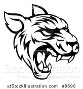 Vector Illustration of a Black and White Vicious Tiger Mascot Face Roaring by AtStockIllustration