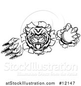 Vector Illustration of a Black and White Vicious Wildcat Mascot Shredding Through a Wall with a Cricket Ball by AtStockIllustration