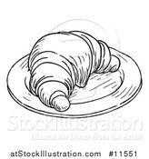 Vector Illustration of a Black and White Vintage Engraved Croissant on a Plate by AtStockIllustration