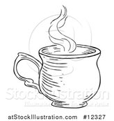Vector Illustration of a Black and White Vintage Engraved Cup of Hot Tea or Coffee by AtStockIllustration