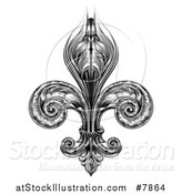 Vector Illustration of a Black and White Vintage Engraved Fleur De Lis by AtStockIllustration