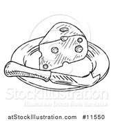 Vector Illustration of a Black and White Vintage Engraved Knife and Cheese Wedge on a Plate by AtStockIllustration