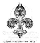 Vector Illustration of a Black and White Vintage Engraved or Woodblock Fleur De Lis by AtStockIllustration