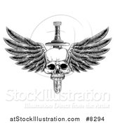 Vector Illustration of a Black and White Vintage Engraved or Woodcut Dagger Through a Winged Skull by AtStockIllustration