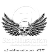 Vector Illustration of a Black and White Vintage Engraved or Woodcut Winged Human Skull by AtStockIllustration