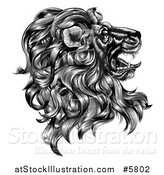 Vector Illustration of a Black and White Vintage Engraved Profiled Heraldic Lion Head by AtStockIllustration