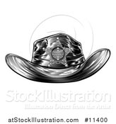 Vector Illustration of a Black and White Vintage Engraved Sheriff Hat by AtStockIllustration