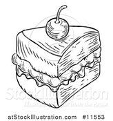 Vector Illustration of a Black and White Vintage Engraved Slice of Jam and Cream Victoria Sponge Cake by AtStockIllustration