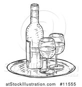 Vector Illustration of a Black and White Vintage Engraved Wine Bottle and Glasses by AtStockIllustration