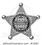 Vector Illustration of a Black and White Vintage Etched Engraved Sheriff Star Badge by AtStockIllustration