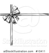Vector Illustration of a Black and White Vintage Woodcut or Engraved Gift Bow and Ribbons by AtStockIllustration