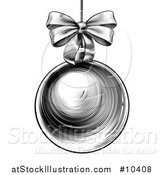 Vector Illustration of a Black and White Vintage Woodcut or Engraved Suspended Christmas Bauble Ornament with a Bow by AtStockIllustration