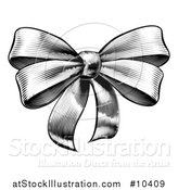 Vector Illustration of a Black and White Vintage Woodcut or Etched Gift Bow by AtStockIllustration
