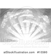 Vector Illustration of a Black and White Vintage Woodcut Sky with Sun Rays by AtStockIllustration