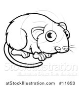 Vector Illustration of a Black and White Vole by AtStockIllustration