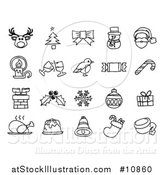 Vector Illustration of a Black and White Watercolor Styled Christmas Icons by AtStockIllustration