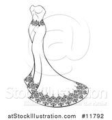 Vector Illustration of a Black and White Wedding Gown by AtStockIllustration