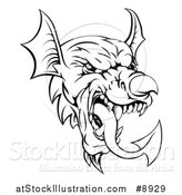 Vector Illustration of a Black and White Welsh Dragon Mascot Head by AtStockIllustration