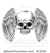 Vector Illustration of a Black and White Winged Human Skull by AtStockIllustration