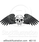 Vector Illustration of a Black and White Winged Skull Tattoo Design by AtStockIllustration