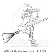 Vector Illustration of a Black and White Witch Holding a Magic Wand and Flying on a Broomstick by AtStockIllustration