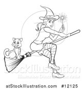 Vector Illustration of a Black and White Witch Holding a Magic Wand and Flying with a Cat on a Broomstick by AtStockIllustration
