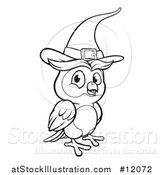 Vector Illustration of a Black and White Witch Owl Wearing a Hat by AtStockIllustration