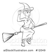 Vector Illustration of a Black and White Witch Tipping Her Hat and Flying on a Broomstick by AtStockIllustration