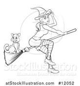 Vector Illustration of a Black and White Witch Tipping Her Hat and Flying on a Broomstick with Her Cat by AtStockIllustration