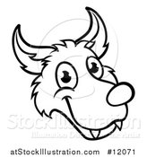 Vector Illustration of a Black and White Wolf Face Mascot from the Three Little Pigs Story by AtStockIllustration