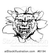 Vector Illustration of a Black and White Wolf Head Breaking Through a Wall by AtStockIllustration