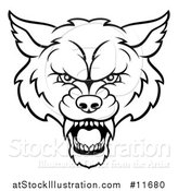 Vector Illustration of a Black and White Wolf Mascot Head by AtStockIllustration