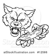Vector Illustration of a Black and White Wolf Mascot Holding a Video Game Controller by AtStockIllustration