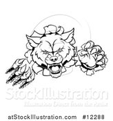 Vector Illustration of a Black and White Wolf Slashing Through a Wall by AtStockIllustration
