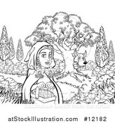 Vector Illustration of a Black and White Wolf Stalking Little Red Riding Hood by AtStockIllustration