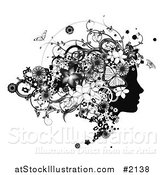 Vector Illustration of a Black and White Woman's Face in Profile, with Flowers and Butterflies by AtStockIllustration