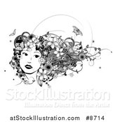 Vector Illustration of a Black and White Womans Face with Butterflies, Flowers and Vines in Her Hair by AtStockIllustration