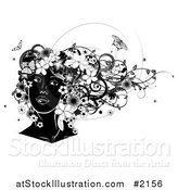 Vector Illustration of a Black and White Woman's Face, with Flowers and Butterflies by AtStockIllustration