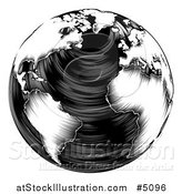 Vector Illustration of a Black and White Woodblock Earth by AtStockIllustration