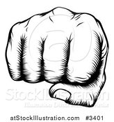 Vector Illustration of a Black and White Woodblock Fist by AtStockIllustration