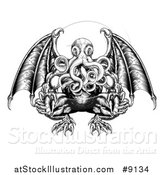 Vector Illustration of a Black and White Woodblock Winged Octopus Cthulhu Monster by AtStockIllustration